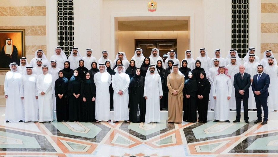 Sheikh Mohammed bin Rashid, Prime Minister and Ruler of Dubai, stands for a photograph with the UAE Cabinet ministers and 33 young Emiratis who have been appointed to the boards of federal government bodies. Wam